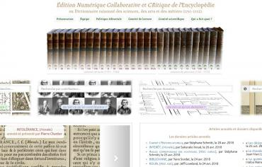 Site - ENCRE (Édition Numérique Collaborative et CRitique de l'Encyclopédie)