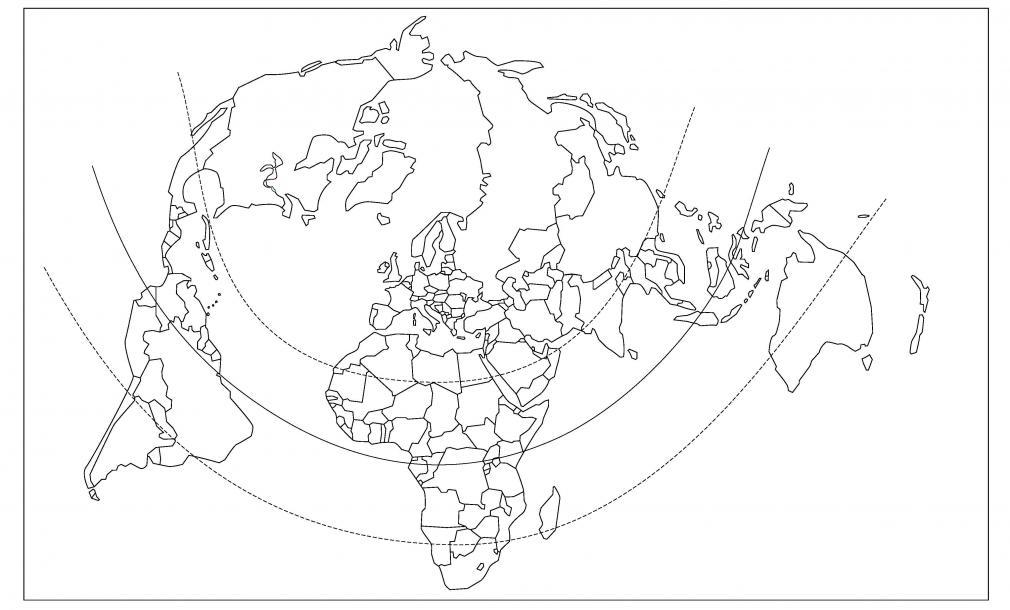 Planisphère projection Bertin (États)